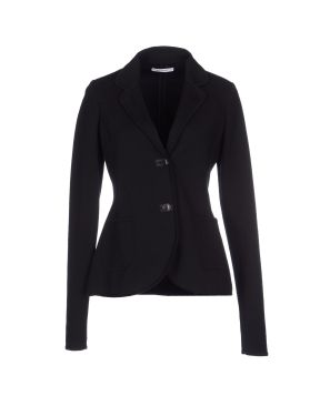 GENTRYPORTOFINO Cotton jersey blazer in black