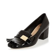 River Island black patent tassel heeled loafers black