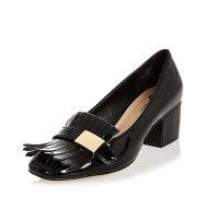 River Island black patent tassel heeled loafers black
