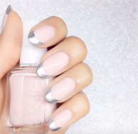 Silver and pink manicure