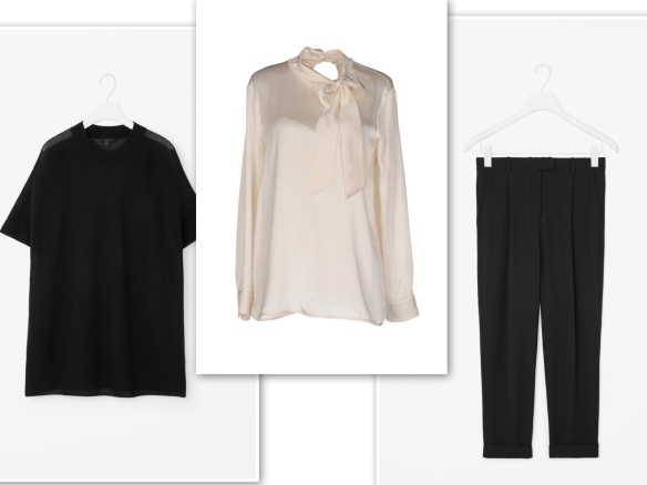 black-knit-beige-blouse-black-trousers