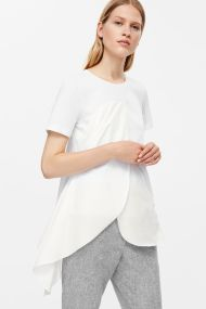 COS -t-shirt-with-poplin-drape-white