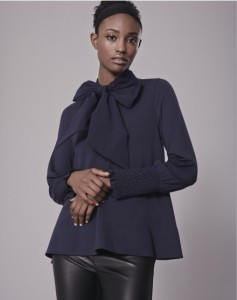 ME + EM -pussybow-ruched-sleeve-shirt in viscose-elastane-french-navy