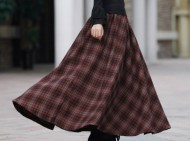 2016-europe-fashion-red-plaid-skirt-women-s-elastic-waist-long-wool-skirt-casual-maxi-skirt