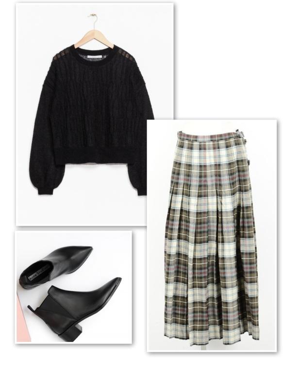 black-sweater-black-white-tartan-skirt-ankle-boots