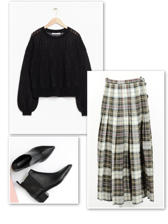 black-sweater-black-white-tartan-skirt-ankle-boots