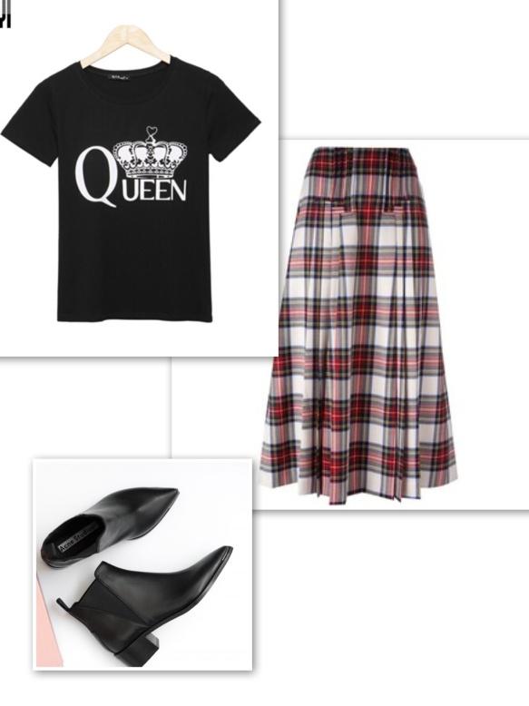 graphic-t-shirt-tartan-long-skirt-ankle-boots