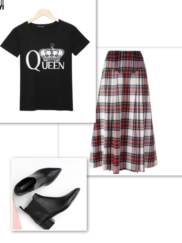 graphic-t-shirt-tartan-long-skirt-ankle-boots