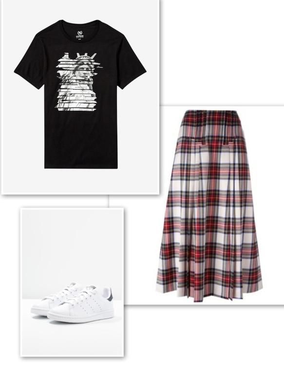 graphic-t-shirt-tartan-skirt-trainers