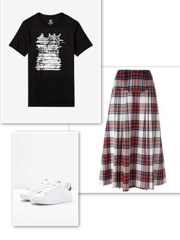 graphic-t-shirt-tartan-skirt-trainers
