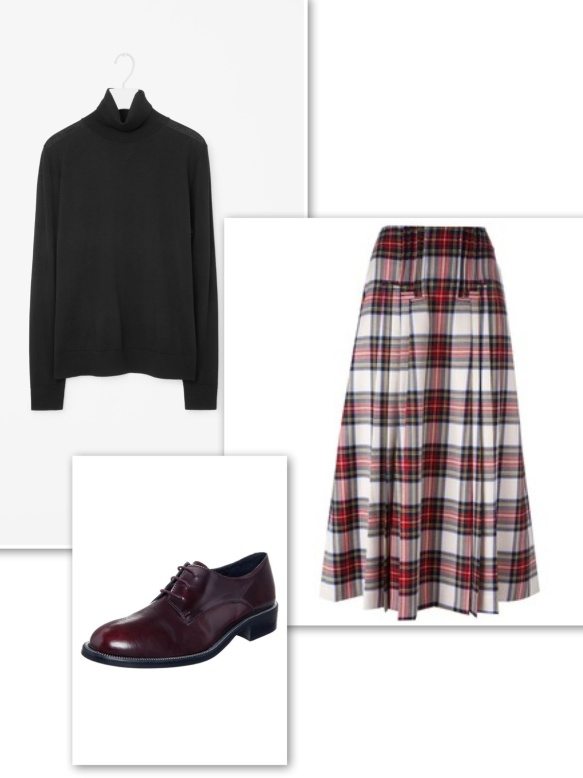 polo-neck-sweater-tartan-skirt-brogues