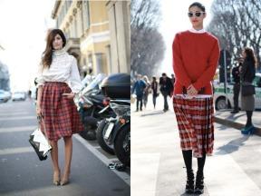 red-tartan-skirt-long-loose-baggy-caroline-issa-paris