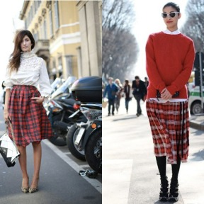 red-tartan-skirt-long-loose-baggy-caroline-issa-paris