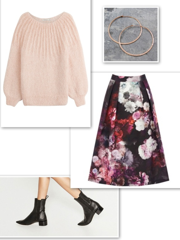 pink-mohair-knit-floral-skirt-black-ankle-boots-hoop-earrings